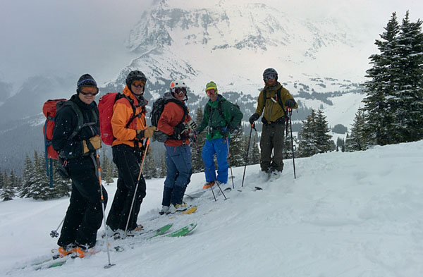 Group on a guided ski tour from the Mallard Mountain Lodge in the BC Rockies