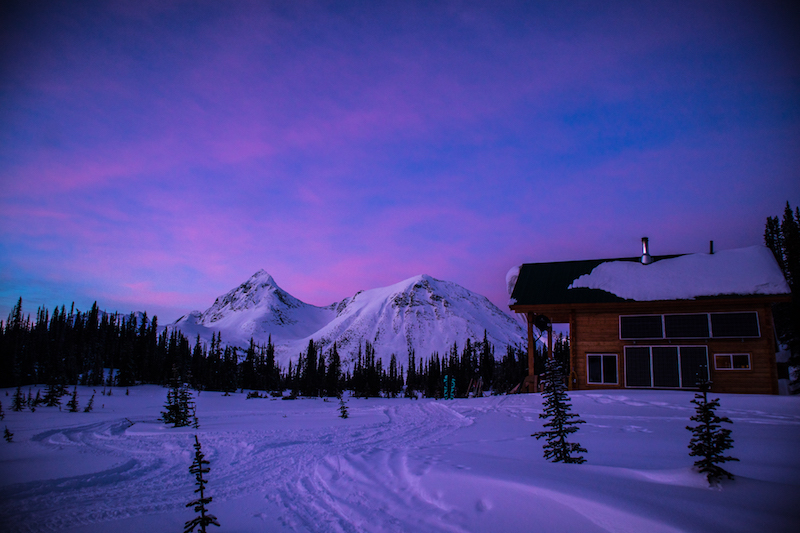 Sunset at the Mallard Mountain Backcountry Lodge, BC
