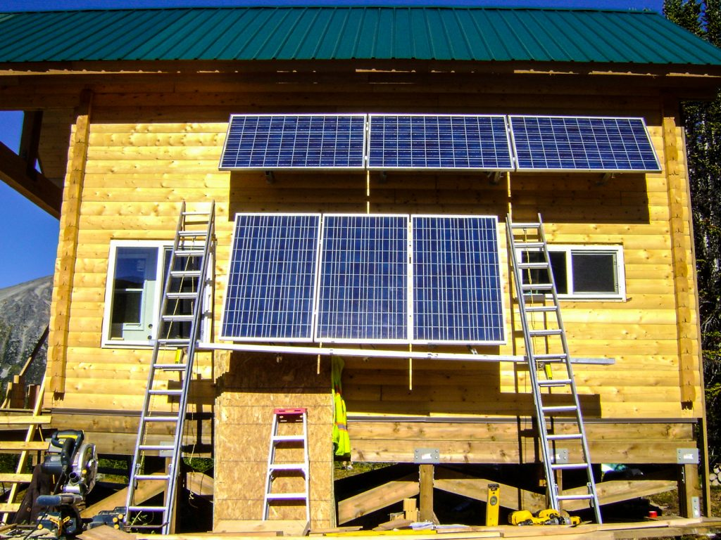 Solar panels being installed on the new Mallard Mountain Lodge