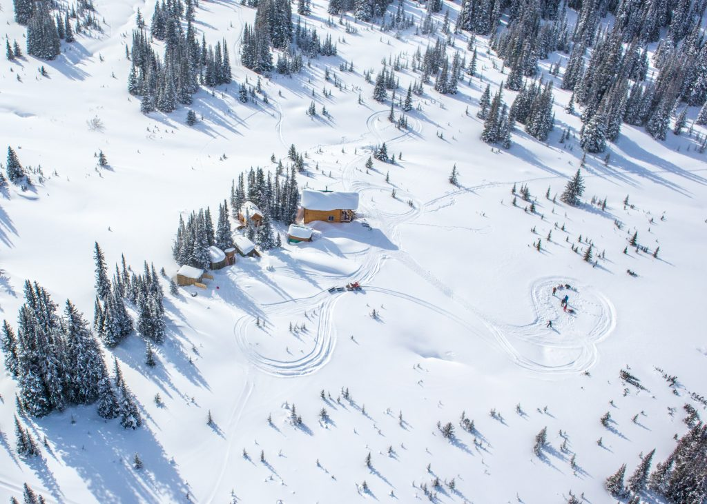 Birds-eye-view of the Mallard Mountain Ski Lodge, BC